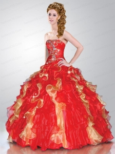 Beautiful Sweetheart Beading and Ruffles Red and Gold Quinceanera Dress