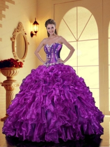 Brand New Sweetheart Purple Quinceanera Dresses with Appliques and Ruffles