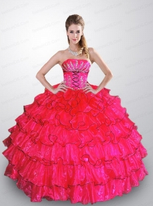 Cheap Hot Pink Sweet Sixteen Dresses with Beading and Ruffle Layers