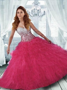 Classical Hot Pink Quinceanera Dress with Beading and Ruffles
