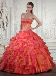 Classical Strapless Orange and Pink Quinceanera Dresses with Appliques and Ruffles