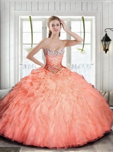 Discount Sweetheart Beading Quinceanera Dress with Ruffles in Peach