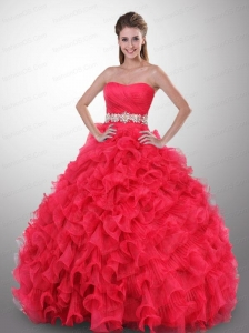 Exclusive Strapless Appliques and Ruffles Quinceanera Dress in Hot Pink