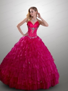 Exquisite Straps Ball Gown Ruffles and Beading Hot Pink  Quinceanera Dresses