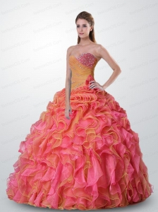 Gorgeous Ruffled and Appliques Orange and Pink Quinceanera Dress