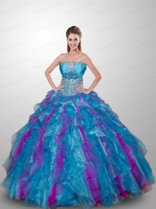 Inexpensive Multi-color Quinceanera Dress with Ruffled Layers and Beading