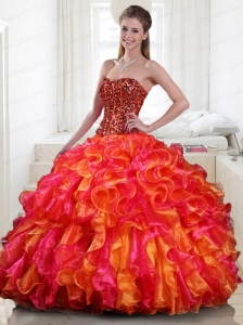 Luxurious Ruffles Strapless Beading Quinceanera Dresses in Mutli-color