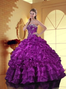 Luxurious Strapless Appliques and Ruffles Quinceanera Dresses in Purple