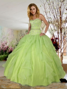 Modern Spring Green Sweetheart Beading Tulle Sweet 16 Dress