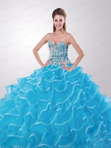 Modest Sweetheart Beading and Ruffled Layers Aqua Blue Quinceanera Dresses