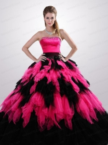 Most Popular Strapless Ruffles Quinceanera Dresses in Hot Pink and Black for 2014