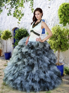 New Style White and Black Quinceanera Dress with Ruffles For 2015