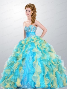 Popular Sweetheart Ruffles and Beading Multi-color Quinceanera Dress