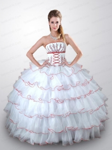 Popular White Quinceanera Dress with Beading and Ruffled Layers