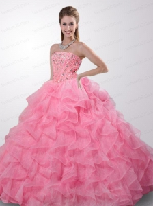 Remarkable Strapless Rhinestone and Ruffles Baby Pink Quinceanera Dress
