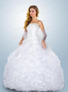 Romantic Strapless Appliques and Ruffles Sweet Sixteen Dresses in White
