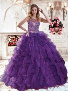 Scoop Beaded Decorate Brush Train Quinceanera Dress in Purple