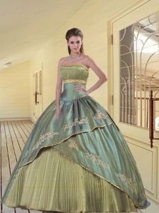 Special Strapless Olive Green Quinceanera Gown with Pleats and Appliques
