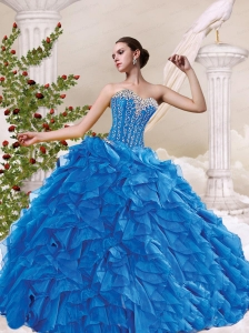 Sweetheart Beading and Ruffles Blue Quinceanera Dresses for 2015