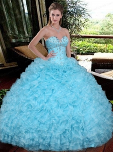 Sweetheart Beading and Ruffles Quinceanera Gowns in Aqua Blue