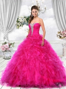 Sweetheart Organza Hot Pink Quinceanera Dress with Beading