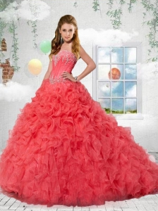 The Most Popular Coral Red Sweetheart Quinceanera Dress with Appliques For 2015