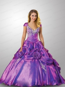 Wonderful Cap Sleeves Purple Quinceanera Dress with Hand Made Flowers and Pick Ups