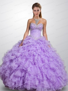Affordable Sweetheart Organza Lavender Quinceanera Dresses with Beading and Ruffles