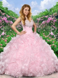 Lovely Sweetheart Beading and Ruffles Quinceanera Dress in Baby Pink