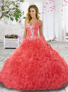 2015 Beautiful Sweetheart Appliques and Ruffles Watermelon Red Quinceanera Dress