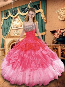 2015 Exclusive Pink Quinceanera Dress with Beading and Ruffles