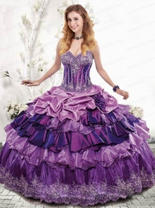 2015 Exclusive Sweetheart Appliques and Ruffles Purple Dress for Quinceanera