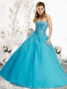 2015 Fashionable Beading and Sequins Blue Quinceranera Dress