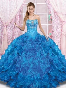 2015 Pretty Blue Quinceanera Dress with Beading and Ruffles