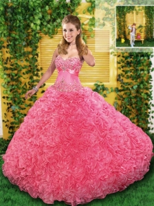 2015 Pretty Pink Quinceanera Dress with Appliques and Ruffles