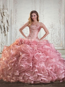 Beading and Ruffles Strapless Baby Pink Dress For Quince