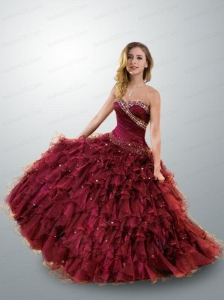 Brand New Sweetheart Wine Red Quinceanera Gown with Beading and Ruffles