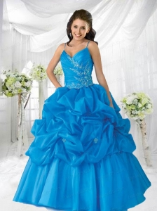 Remarkable Spaghetti Straps Blue Quinceanera Dress with Appliques and Beading