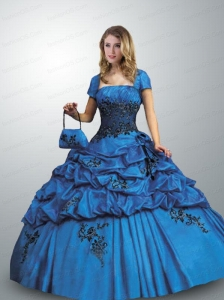 Remarkable Spaghetti Straps Royal Blue Quinceanera Dress with Appliques and Pick-ups