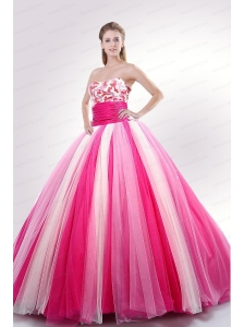 Sequins Decorate Bodice Quinceanera Dress in White and Pink