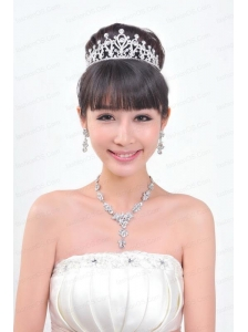 Shining Rhinestones Alloy Plated Wedding Jewelry Set Including Necklace And Tiara