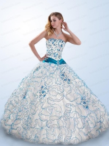 Strapless White and Blue Quinceanera Gown with Appliques