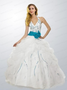 White Halter Top Beaded Decorate Sweet 16 Dress with Sash