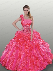 Wonderful Hot Pink Dress For Quinceanera with Beading and Ruffles