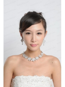 Beautiful Alloy With Rhinestone Anniversary Jewelry Set Including Necklace Earrings And Jewelry Comb