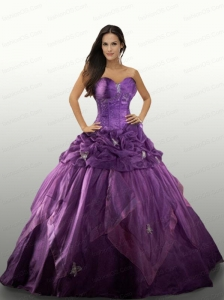 Purple Sweetheart Appliques Organza Quinceanera Dresses