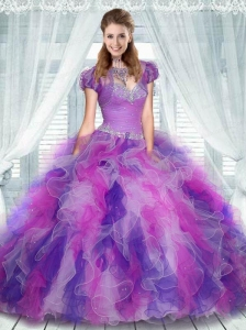 Sweetheart Multi-color Quinceanera Dress with Beading and Ruffles