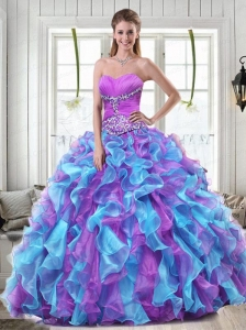 Sweetheart Multi-colored Quinceanera Dresses with Beading and Ruffles