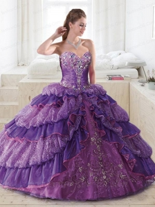 Sweetheart Purple Quinceanera Gown with Beading and Appliques