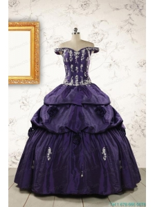 2015 Latest Off The Shoulder Appliques Quinceanera Dresses in Purple